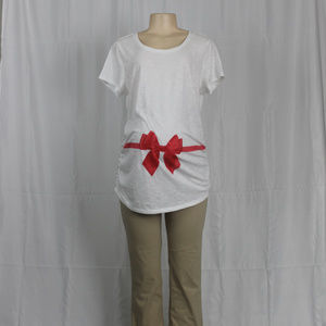 Motherhood Bow Holiday Maternity Tee (Size L) NWOT